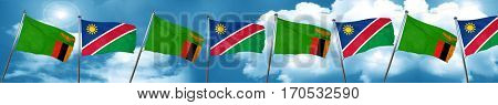 Zambia flag with Namibia flag, 3D rendering