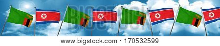 Zambia flag with North Korea flag, 3D rendering