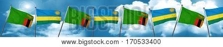 Zambia flag with rwanda flag, 3D rendering