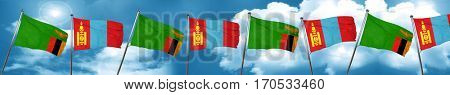 Zambia flag with Mongolia flag, 3D rendering