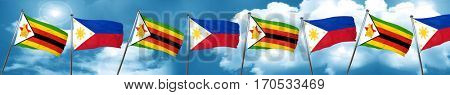 Zimbabwe flag with Philippines flag, 3D rendering