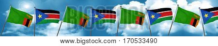 Zambia flag with South Sudan flag, 3D rendering
