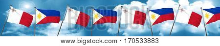 Malta flag with Philippines flag, 3D rendering