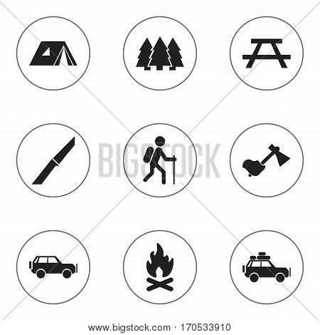 Set Of 9 Editable Camping Icons. Includes Symbols Such As Pine, Gait, Fever And More. Can Be Used For Web, Mobile, UI And Infographic Design.