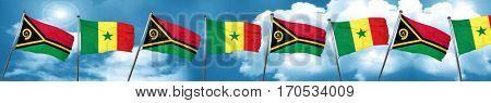 Vanatu flag with Senegal flag, 3D rendering