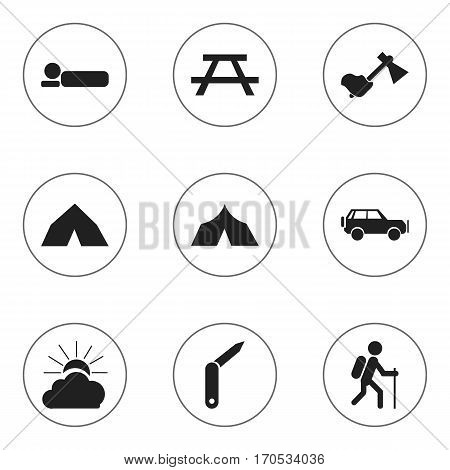 Set Of 9 Editable Trip Icons. Includes Symbols Such As Gait, Sunrise, Desk And More. Can Be Used For Web, Mobile, UI And Infographic Design.