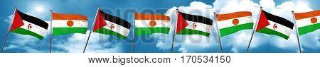 Western sahara flag with Niger flag, 3D rendering