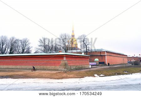 Frozen River Neva and bastion of Peter and Paul Fortress in St.Petersburg Russia.