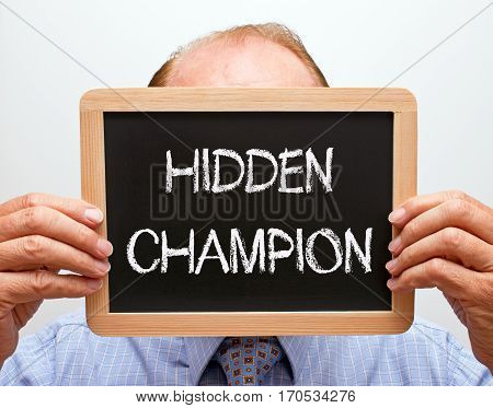 Hidden Champion - business person with chalkboard