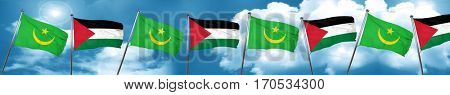 Mauritania flag with Palestine flag, 3D rendering