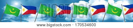 Mauritania flag with Philippines flag, 3D rendering