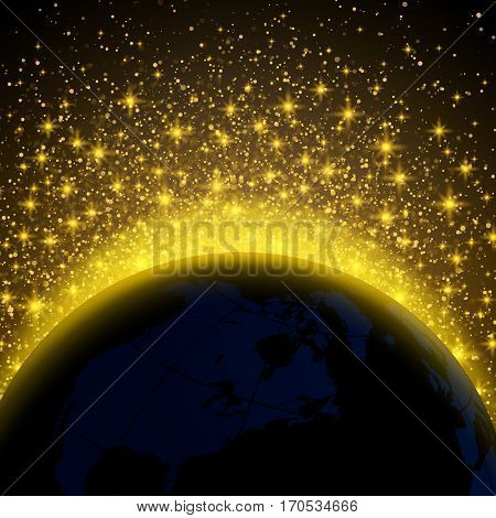 Planet halo in the night sky space gold star. Vector Illustration Abstract.