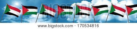 Sudan flag with Palestine flag, 3D rendering