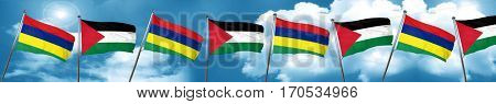 Mauritius flag with Palestine flag, 3D rendering