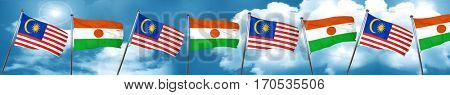 Malaysia flag with Niger flag, 3D rendering