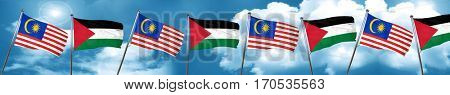 Malaysia flag with Palestine flag, 3D rendering