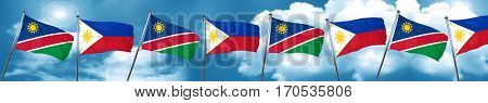 Namibia flag with Philippines flag, 3D rendering