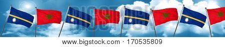 Nauru flag with Morocco flag, 3D rendering