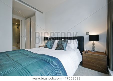 modern luxury bedroom with walk-in wardrobe and en-suite bathroom