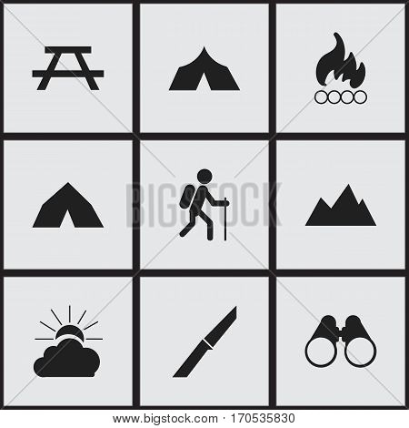 Set Of 9 Editable Trip Icons. Includes Symbols Such As Desk, Sunrise, Field Glasses And More. Can Be Used For Web, Mobile, UI And Infographic Design.