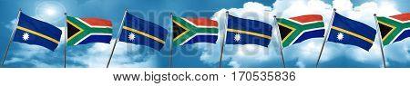 Nauru flag with South Africa flag, 3D rendering