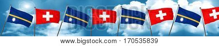 Nauru flag with Switzerland flag, 3D rendering