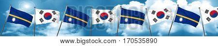 Nauru flag with South Korea flag, 3D rendering