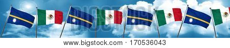 Nauru flag with Mexico flag, 3D rendering