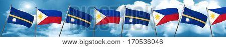 Nauru flag with Philippines flag, 3D rendering
