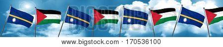 Nauru flag with Palestine flag, 3D rendering