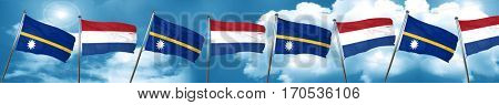 Nauru flag with Netherlands flag, 3D rendering
