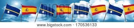 Nauru flag with Spain flag, 3D rendering