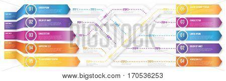 Infographics 3D style arrows, plexiform roadmap paths with steps pointed to different ways and goals. Vector illustration