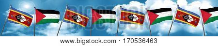 Swaziland flag with Palestine flag, 3D rendering