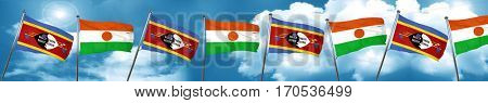 Swaziland flag with Niger flag, 3D rendering