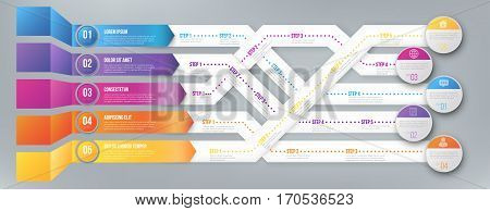 3D infographics style arrows, plexiform roadmap paths with steps pointed to different ways and goals. Vector illustration