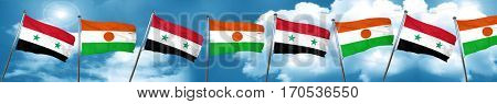 Syria flag with Niger flag, 3D rendering