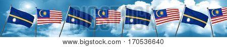 Nauru flag with Malaysia flag, 3D rendering