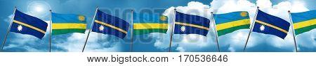 Nauru flag with rwanda flag, 3D rendering