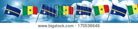 Nauru flag with Senegal flag, 3D rendering