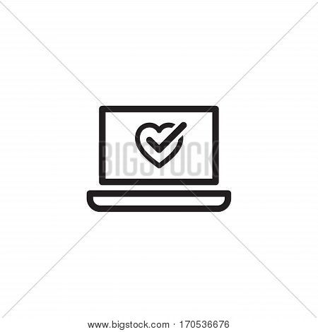 Online Health Tests and Medical Services Icon. Flat Design. Isolated laptop with heart and check symbol.