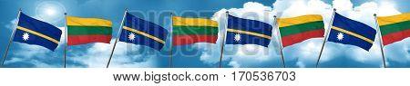 Nauru flag with Lithuania flag, 3D rendering
