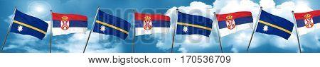 Nauru flag with Serbia flag, 3D rendering