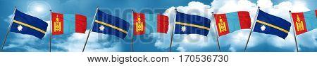 Nauru flag with Mongolia flag, 3D rendering