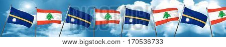 Nauru flag with Lebanon flag, 3D rendering