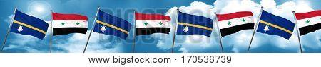 Nauru flag with Syria flag, 3D rendering