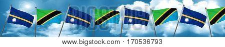 Nauru flag with Tanzania flag, 3D rendering