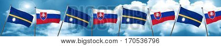 Nauru flag with Slovakia flag, 3D rendering