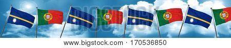 Nauru flag with Portugal flag, 3D rendering