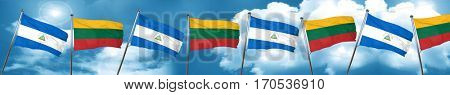 nicaragua flag with Lithuania flag, 3D rendering